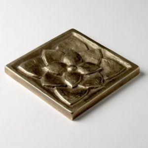 Foundry Art Lotus 3-inch metal accent inset tile 3D
