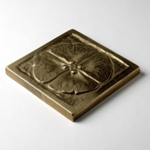 Foundry Art Moon Blossom 3-inch metal accent inset tile 3D