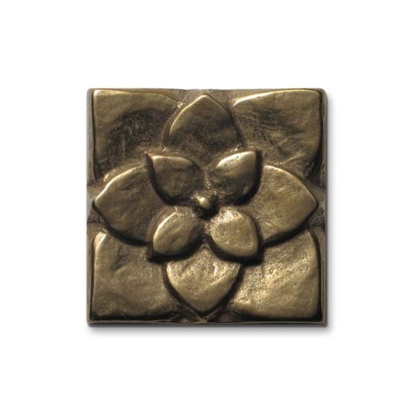 Foundry Art Lotus 2-inch metal accent inset tile