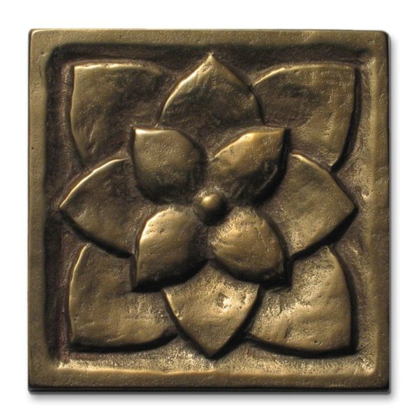 Foundry Art Lotus 3-inch metal accent inset tile
