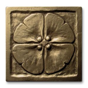 Foundry Art Moon Blossom 3-inch metal accent inset tile
