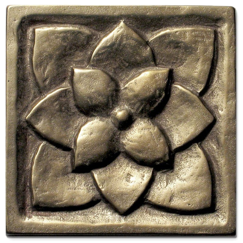 The warm luster of a newly cast and buffed Traditional Bronze tile as it arrives at your home